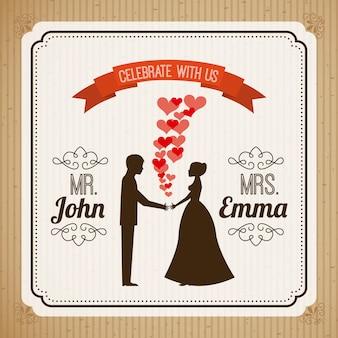 Bruiloft ontwerp over beige achtergrond vectorillustratie