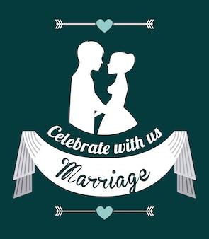 Bruiloft ontwerp over blauwe achtergrond vectorillustratie