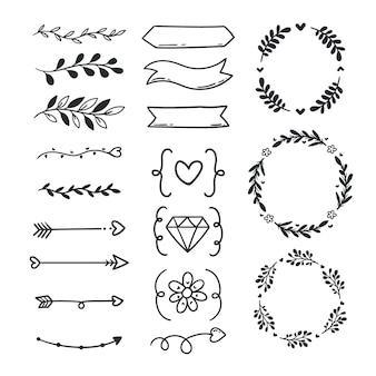 Bruiloft ornament collectie hand getrokken stijl