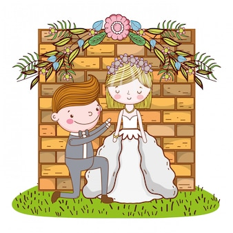 Bruiloft paar schattige cartoon