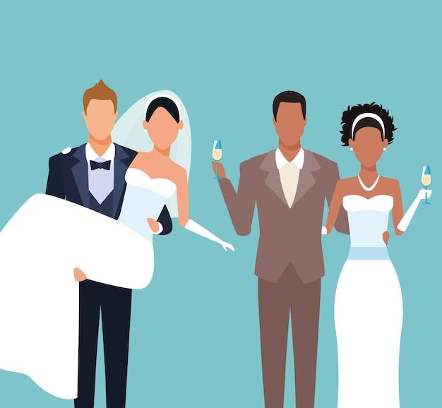 Bruiloft paren cartoon