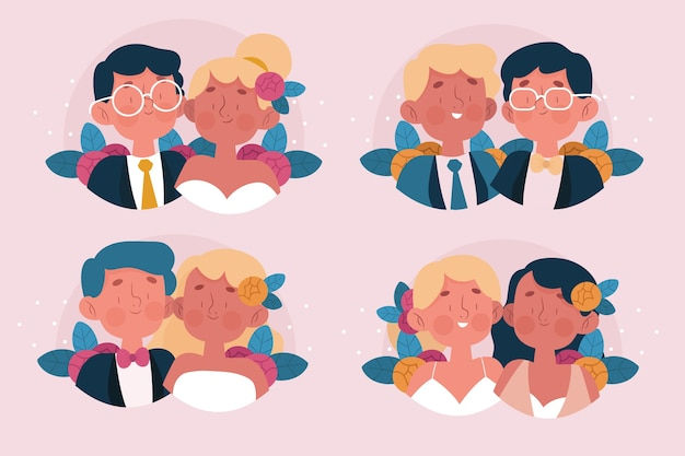 Bruiloft paren illustratie concept