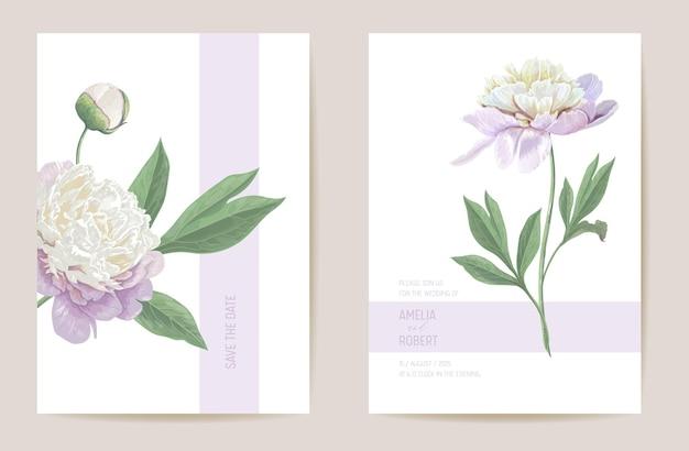 Bruiloft pioen bloemen save the date set. vector lentebloemen, bladeren boho uitnodigingskaart. aquarel sjabloon pastel frame, valentijn cover, modern achtergrondontwerp, zomer behang