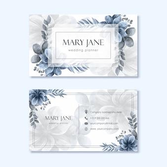 Bruiloft planner sjabloon voor visitekaartjes met bloemdecoratie