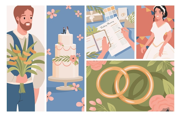 Bruiloft platte illustraties bruidegom bruid in witte trouwjurk