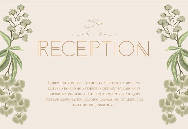 Bruiloft receptie kaart met iris en lelie van de vallei.