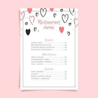 Bruiloft restaurant menusjabloon