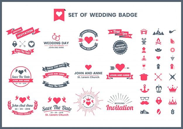 Bruiloft retro romantische badge, pictogrammen en elementen instellen voor san valentijn