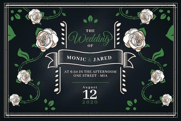 Bruiloft retro uitnodiging sjabloon