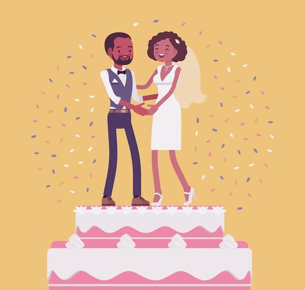 Bruiloft rijke ijstaart met bruid en bruidegom bovenop