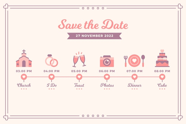 Bruiloft roze tijdlijn in lineaire stijl
