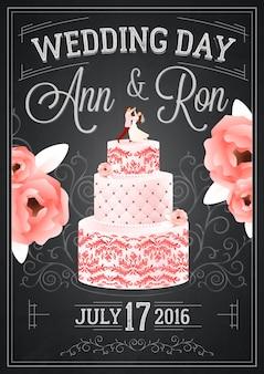 Bruiloft schoolbord poster