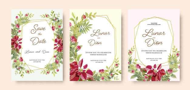 Bruiloft set uitnodigingskaart vintage kersenboeket