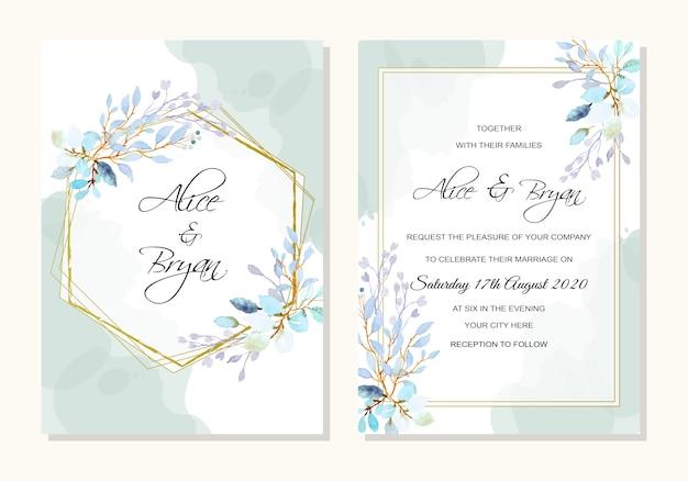 Bruiloft sjabloon met aquarel bladeren