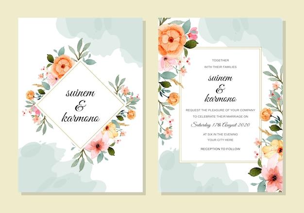 Bruiloft sjabloon met bloemen aquarel