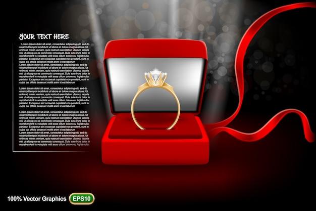 Bruiloft sjabloon met een ring is klaar om te worden omgezet naar uw behoeften. realistische bespot