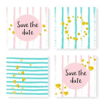 Bruiloft strepen met glitter confetti. uitnodiging instellen. gouden hartjes en stippen op roze en mint achtergrond. sjabloon met huwelijksstrepen voor feest, evenement, vrijgezellenfeest, bewaar de datumkaart.