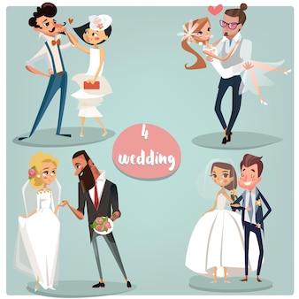 Bruiloft tekenfilm set: bruiden en bruidegom paren