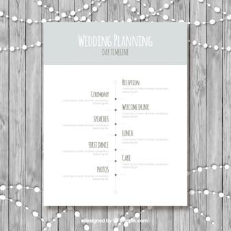 Bruiloft tijdlijn in grijstinten
