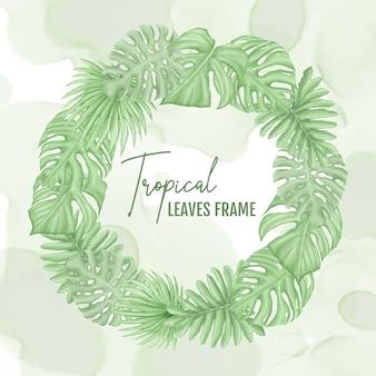 Bruiloft tropische bladeren frame krans sjabloon