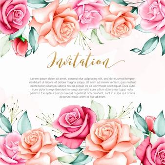 Bruiloft uitnodiging achtergrond met aquarel bloemen sjabloon