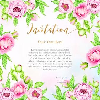 Bruiloft uitnodiging achtergrond met aquarel peony bloemen