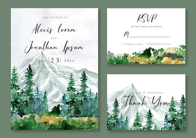 Bruiloft uitnodiging aquarel landschap berg en groen bos Premium Vector