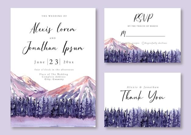 Bruiloft uitnodiging aquarel landschap bergzicht en violet bos