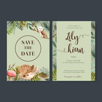 Bruiloft uitnodiging aquarel met bos cool-afgezwakt