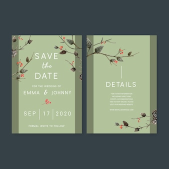Bruiloft uitnodiging aquarel met bos thema