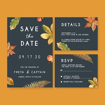 Bruiloft uitnodiging aquarel met herfst thema