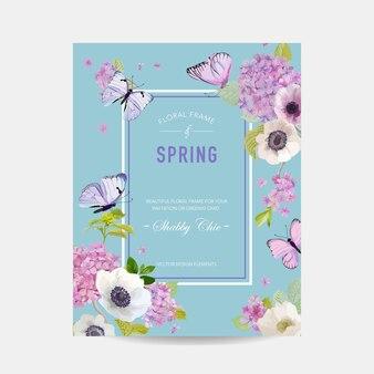 Bruiloft uitnodiging baby douche frame sjabloon. botanische kaart met hortensia bloemen en vlinders. groet bloemen briefkaart