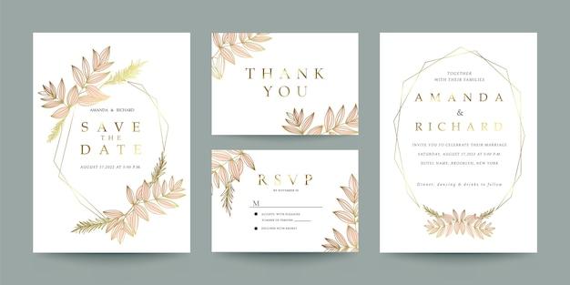 Bruiloft uitnodiging, bedankje en rsvp kaartsjabloon set