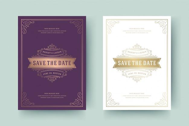 Bruiloft uitnodiging bewaar de datum kaartsjabloon gouden bloeit ornamenten vignet wervelingen.