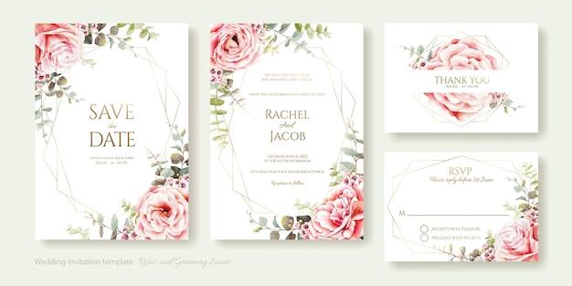 Bruiloft uitnodiging bewaar deze datum dank u rsvp-kaart ontwerpsjabloon roze roos eucalyptus bladeren aquarel stijl