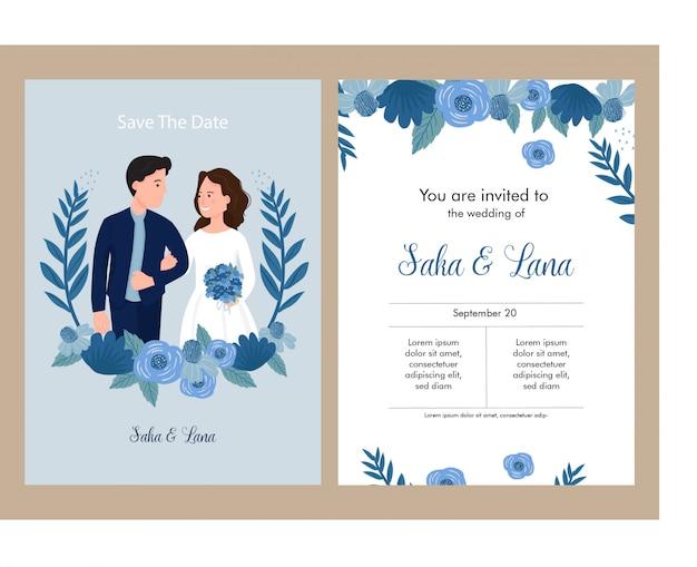 Bruiloft uitnodiging blauw thema met bruid en bruidegom