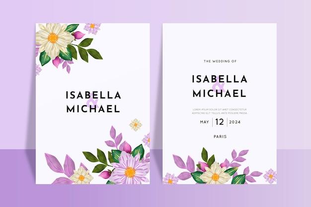 Bruiloft uitnodiging bloemdessin