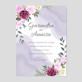 Bruiloft uitnodiging bloemen aquarel
