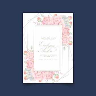 Bruiloft uitnodiging bloemen met vetplanten