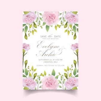 Bruiloft uitnodiging bloemen roze anjers