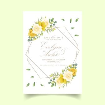Bruiloft uitnodiging bloemen rozen en narcissen