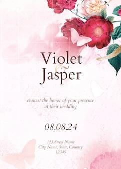 Bruiloft uitnodiging bloemen sjabloon, esthetische ontwerp vector, geremixt van vintage afbeeldingen in het publieke domein