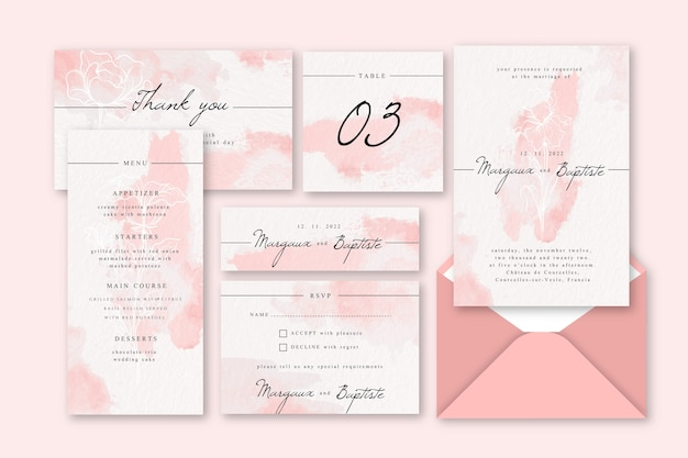 Bruiloft uitnodiging briefpapier concept
