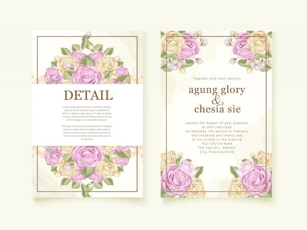 Bruiloft uitnodiging cover ontwerp met roze boeket