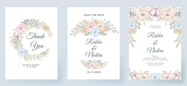 Bruiloft uitnodiging elegante eenvoudig eenvoudig met roze pastel kleur roze perzik blad aquarel decoratie