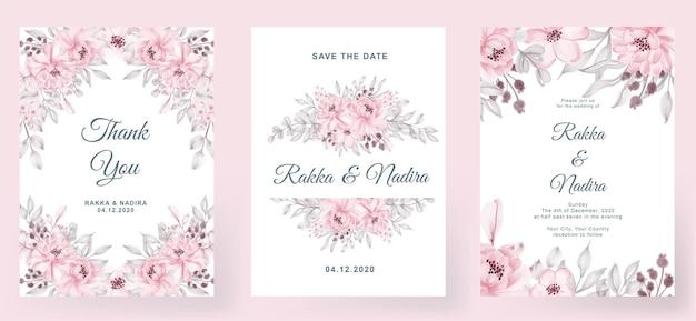 Bruiloft uitnodiging elegante eenvoudig eenvoudig met roze roze perzik blad aquarel decoratie