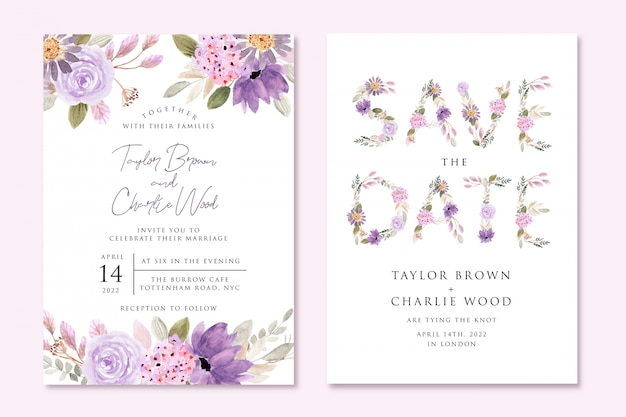 Bruiloft uitnodiging en bewaar de datum kaart met paarse bloem aquarel