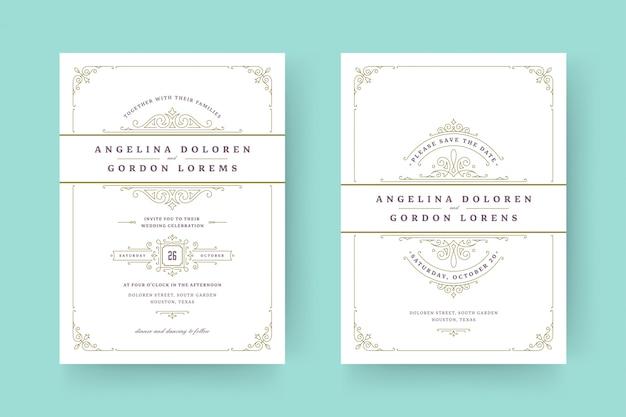 Bruiloft uitnodiging en bewaar de datum kaarten bloeit ornamenten vignet wervelingen.