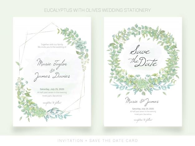 Bruiloft uitnodiging en bewaar de datumkaart met aquarel bladeren