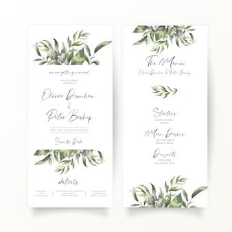 Bruiloft uitnodiging en menusjabloon in dl-formaat